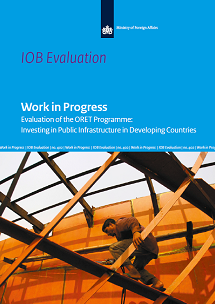 Cover of the IOB-report 'Work in Progress - Evaluation of the ORET Programme: Investing in Public Infrastructure in Developing Countries'.