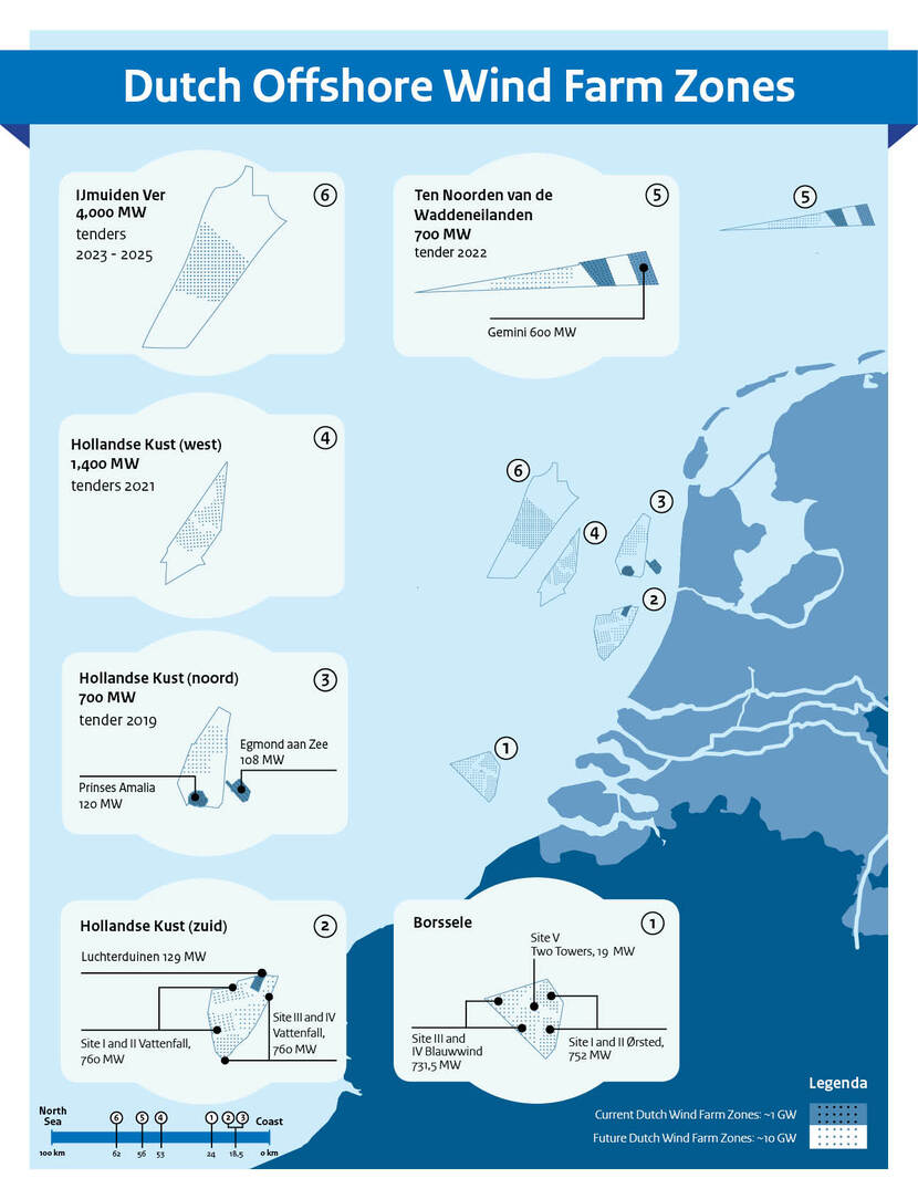 Map of the Dutch Offshore Wind Farm Zones