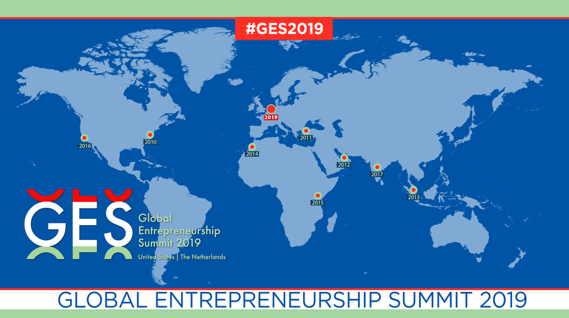 Kaart met locaties van de Global Entrepreneurship Summit (GES), in 2019 is die in Nederland.